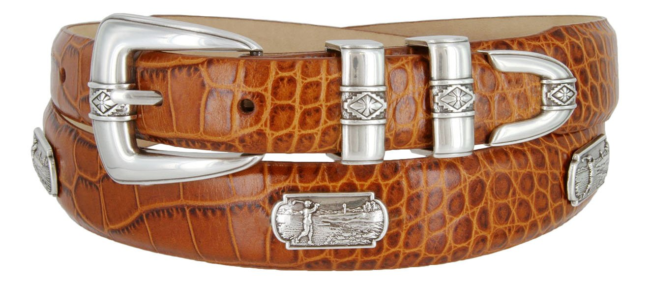 Summer Italian Leather Belt with Golf Swing Medallions 1-1/8'' wide