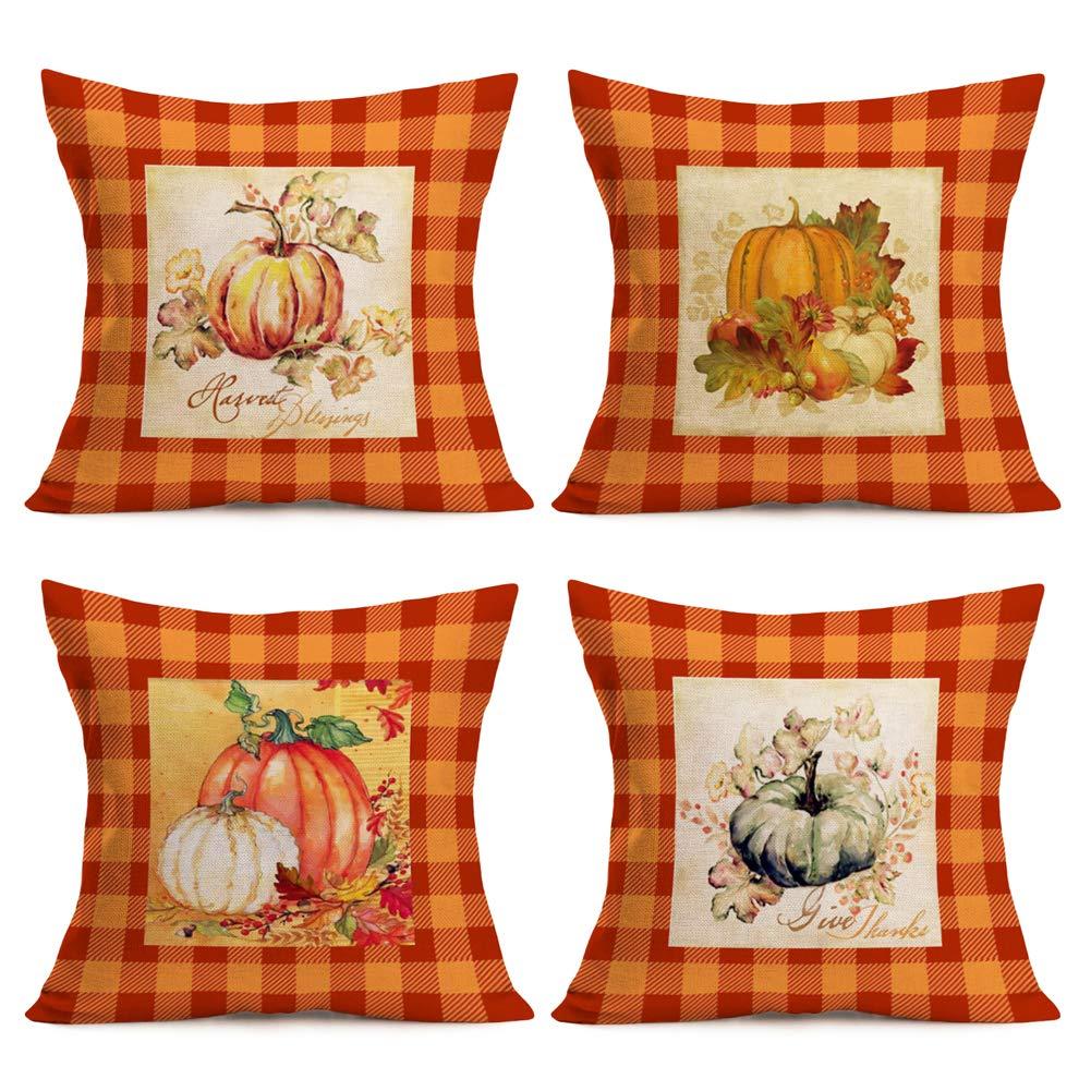 "Fall Pillow Covers Buffalo Plaids Pumpkin Leaves Flower Decoratives Autumn Farmhouse Cushion Case for Sofa Couch 18""x18"" 4Pack Cotton Linen Thanksgiving Harvest Blessings Quote Decor Pillowcase (OBP)"