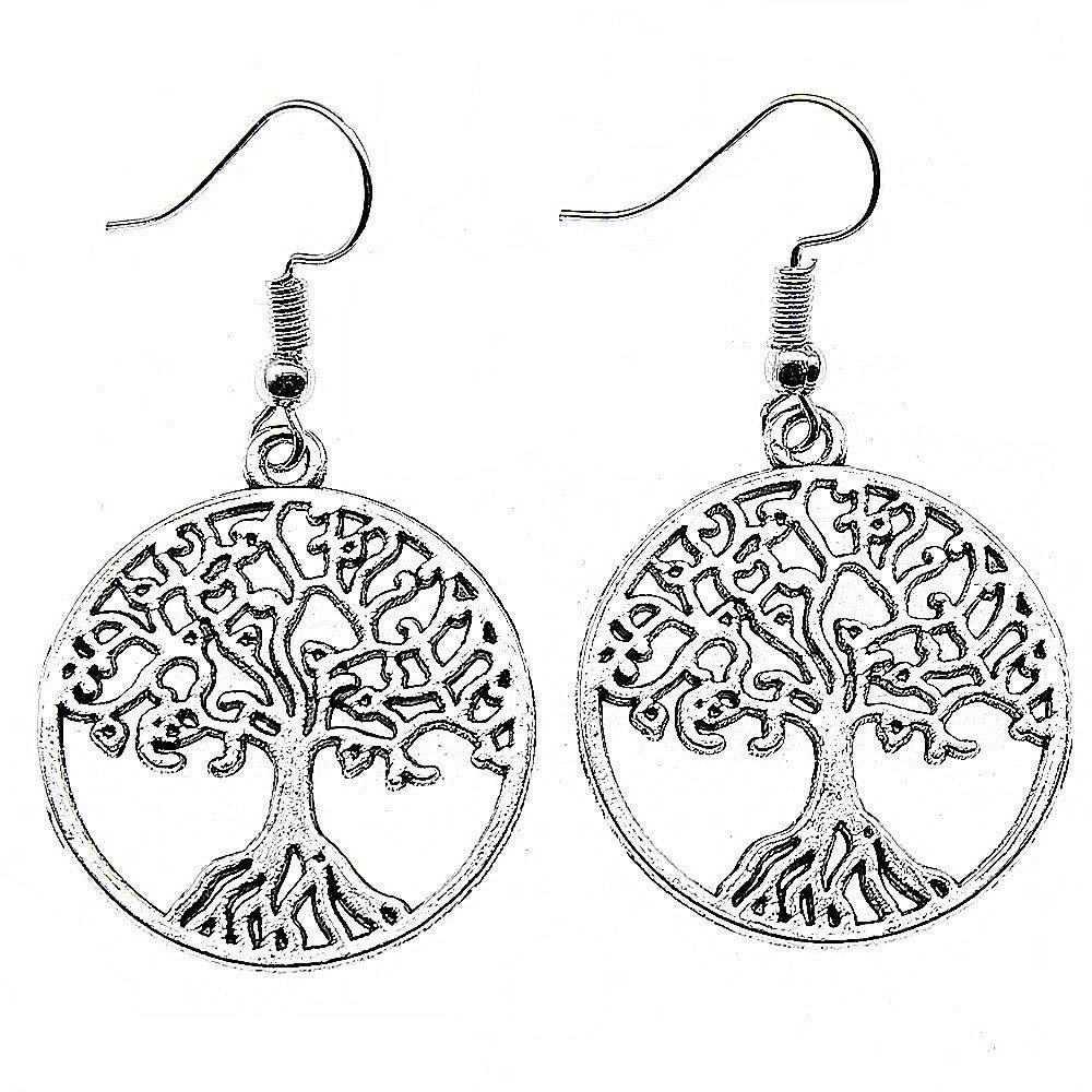 WYSIWYG 3 Pairs Drop Earrings Earrings for Girls Tree of Life 25x25mm with Earring Backs Stopper