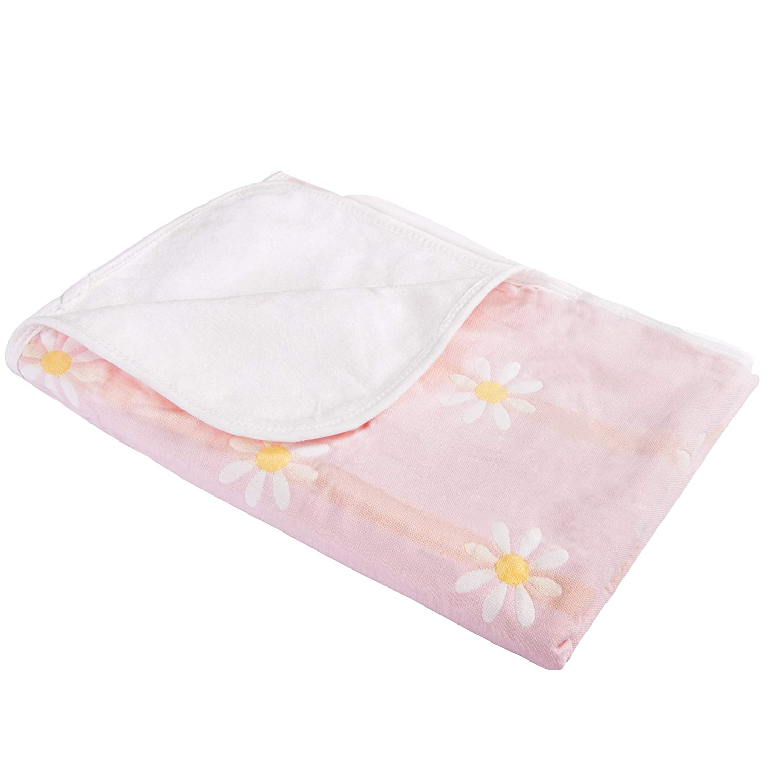 NTBAY Baby Crib Diaper Changing Pad Muslin Cotton Bamboo Fiber Breathable Waterproof Underpads Mattress Sheet Protector with Flower Pattern, Pink, 25