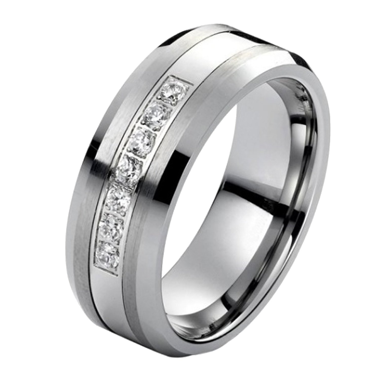 Tungsten Carbide Diamond Mens Wedding Band .20CTW (H-I I2) by AX Jewelry (Image #2)
