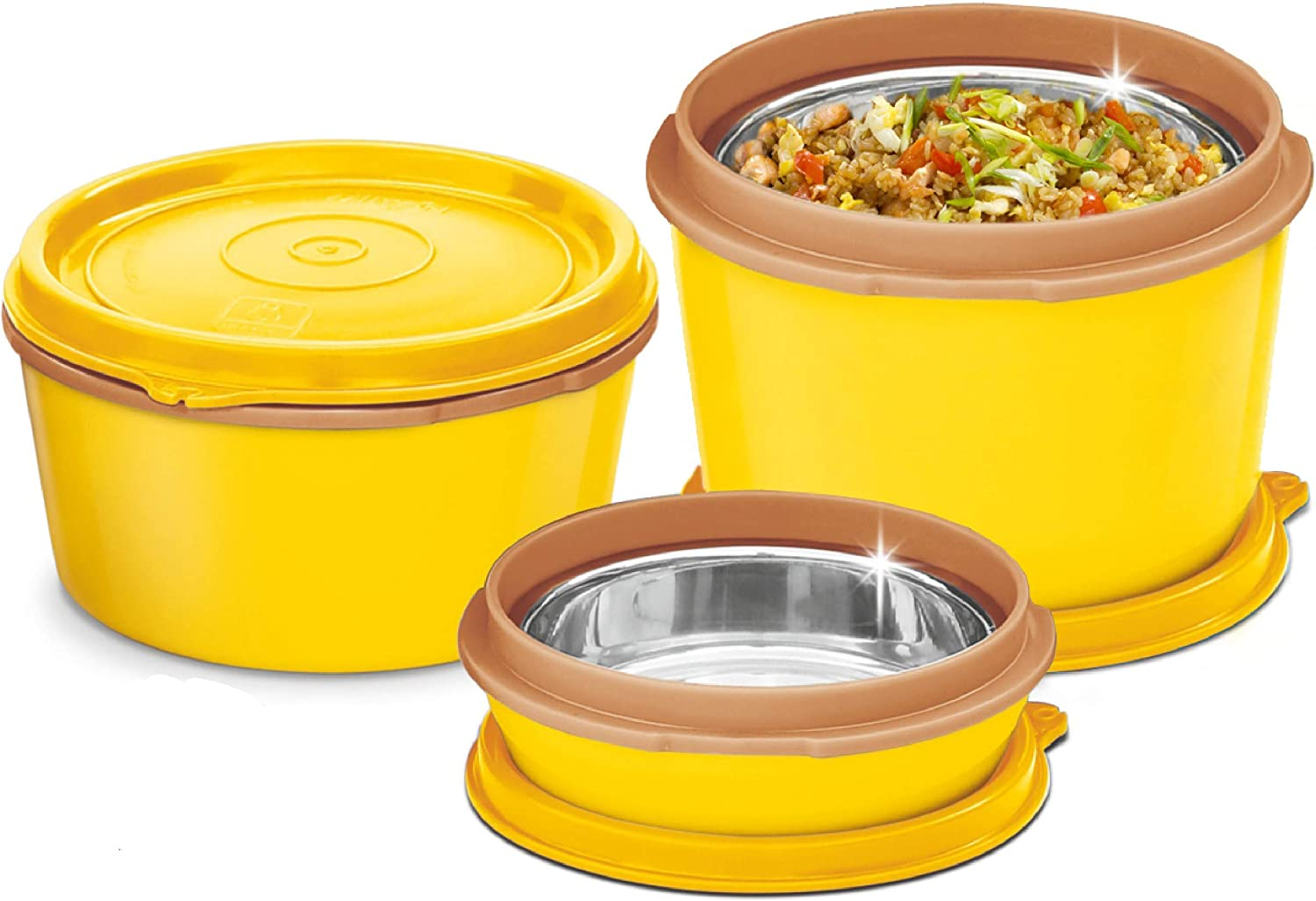 MILTON Bento Lunch Box Set - 3 MICROWAVEABLE Stainless Steel Meal Prep Containers, Food Storage Boxes w/Leak Proof Lids For Men,Women,Kids - Yellow