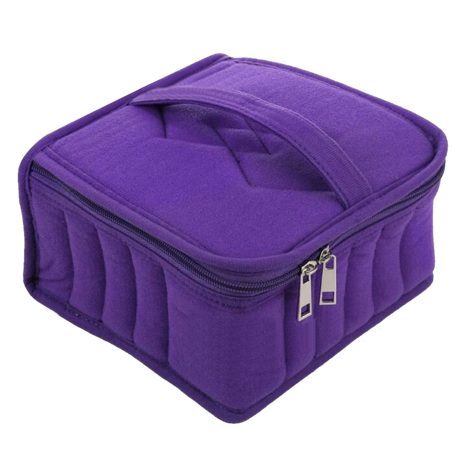 Kangkang@ Essential Oil Bottles Carrying Traval Case 13-slot Holder Organizer Storage Bag for 5ml 10ml 15ml Essential Oil Bottles 2 Colors (Purple)
