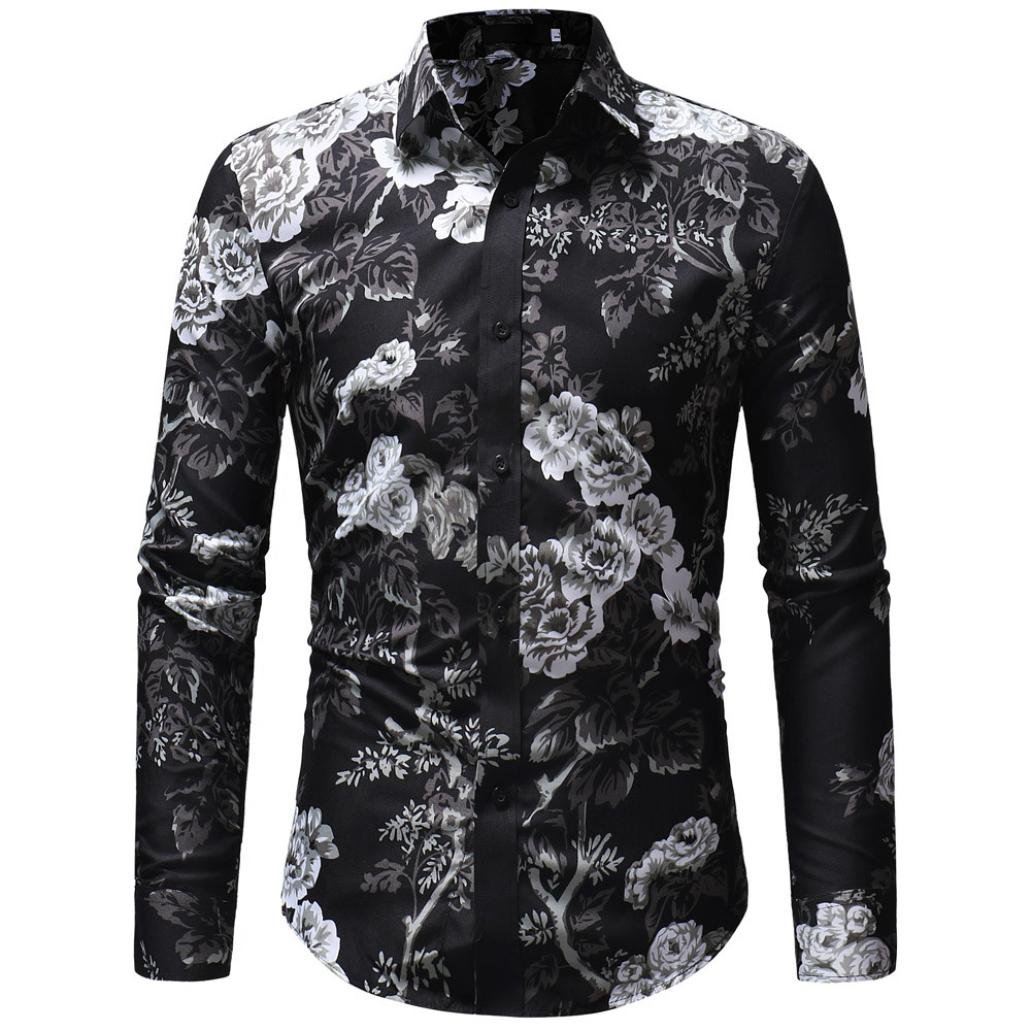 ¡Promociones! Toamen Camiseta De Manga Larga Floral con Estampado Casual De OtoñO Invierno para Hombres TM-32112
