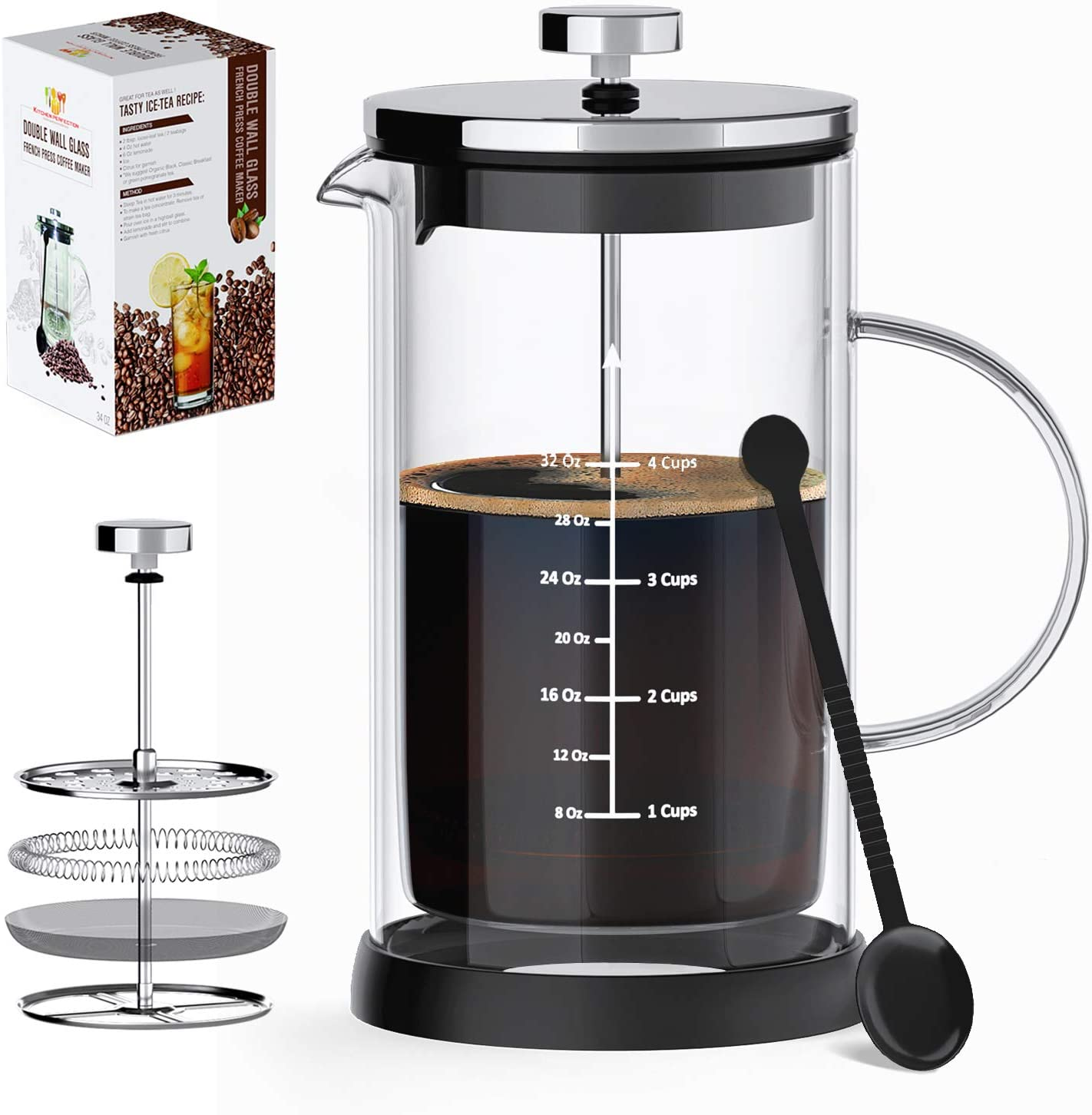 French Press Coffee Maker Tea Maker- Double Wall Insulated Borosilicate One-Piece Glass Carafe,Heat Resistant w Filtration System,BPA-Free, Durable Easy to Clean, Large Capacity 34 Oz 3 Bonuses