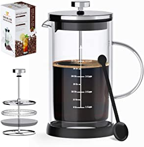 French Press Coffee Maker/Tea- 34 Oz (4 L Cups) Capacity- Heat Resistant, Double Wall Borosilicate Glass Carafe, BPA-Free, FDA-Certified-Complete with Bonus Silicone Mat, Long Coffee Spoon + Recipes