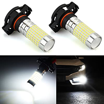 JDM ASTAR 1200 Lumens Extremely Bright 144-EX Chipsets PSX24W 2504 LED Fog Light Bulbs with Projector for DRL or Fog Lights, Xenon White: Automotive