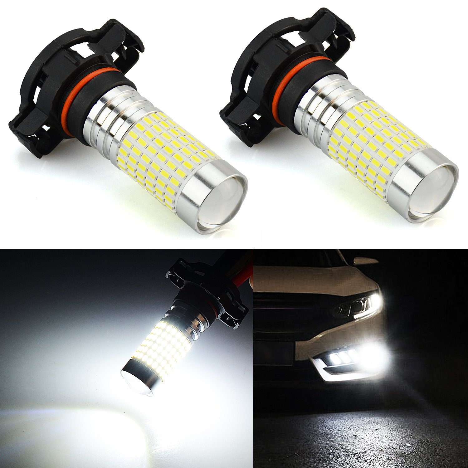 JDM ASTAR 1200 Lumens Extremely Bright 144-EX Chipsets PSX24W 2504 LED Fog Light Bulbs with Projector for DRL or Fog Lights Xenon White