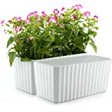 T4U 11 Inch Plastic Rectangular Self Watering Window Box with Water Level Indicator White Set of 2, Modern Decorative…