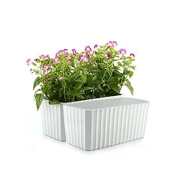 ComSaf Auto Riego Plantador Blanco 28CM Cuadrado Paquete de 2, Planta Maceta Cajas para Interiores Al Aire Libre Jardines de Windowsill Idea Regalo para ...