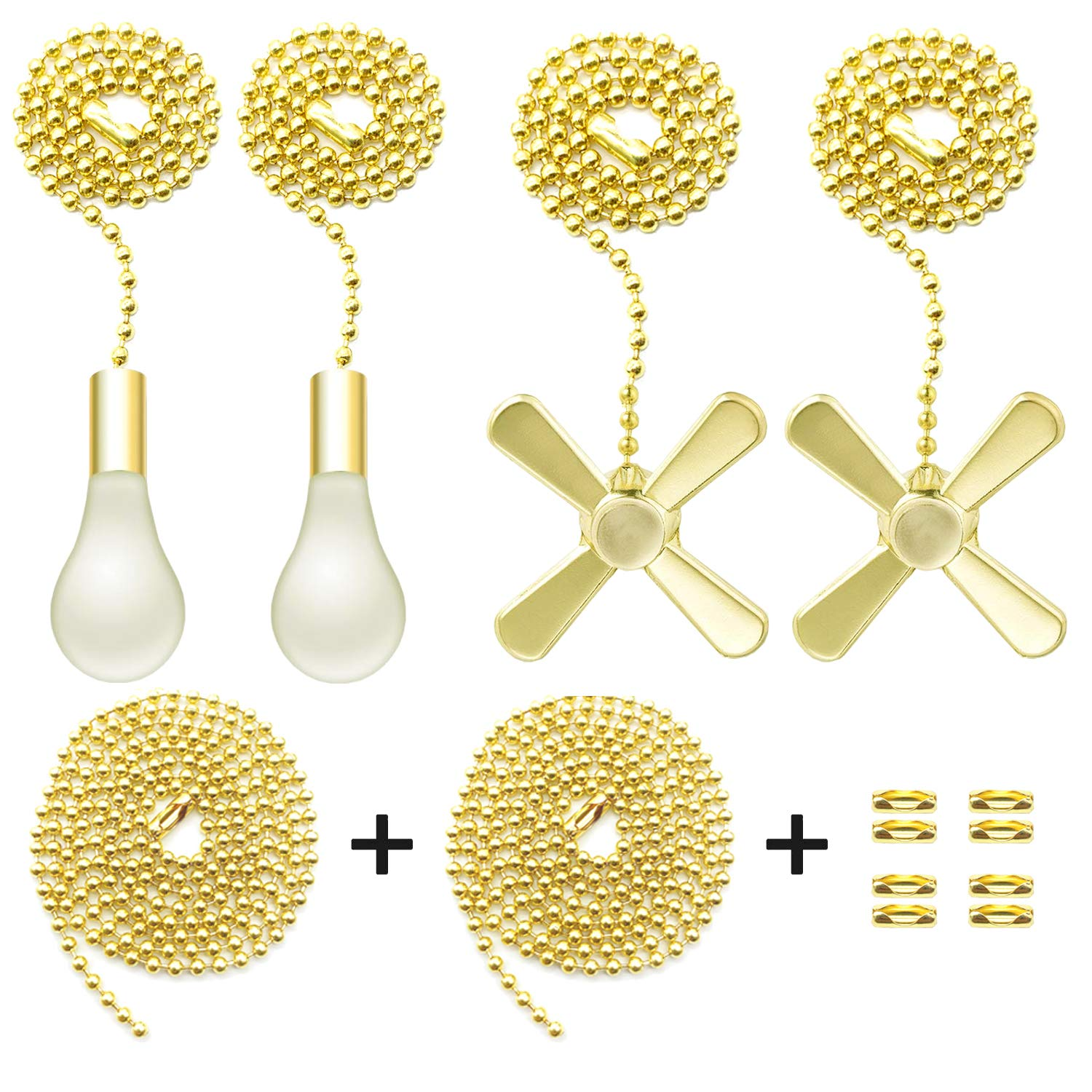 Iceyyyy Gold Ceiling Fan Pull Chain Set Including Extra 39.4 inches Copper Beaded Ball Fan Pull Chain Extension and Ceiling Fan Chain Connector by ICEYYYY