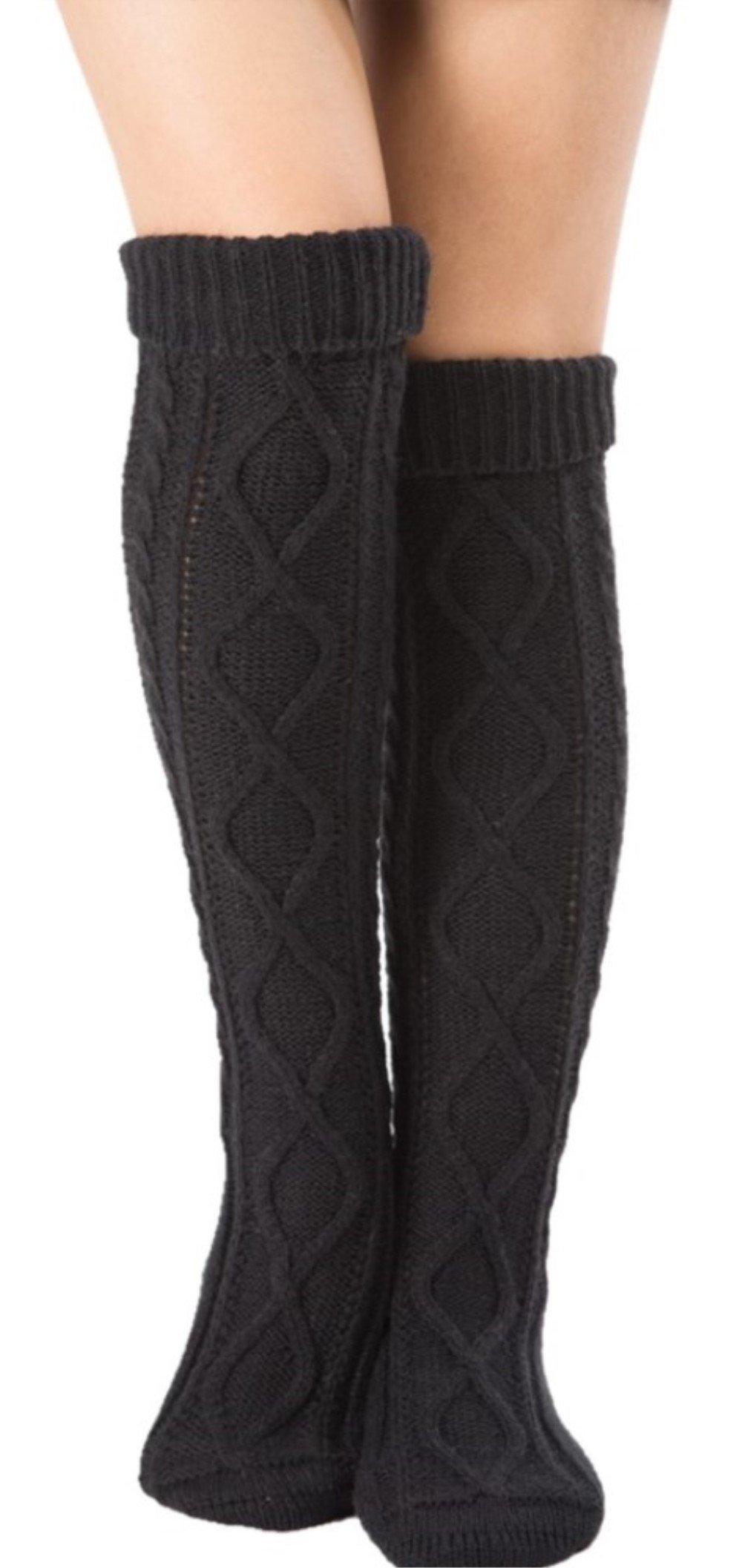 Leotruny Women's Diamond Knit Knee Winter Leg Warmers High Boot Socks (Black)