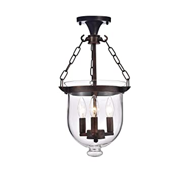 Arabella Antique Copper Bell Jar Glass Lantern Chandelier