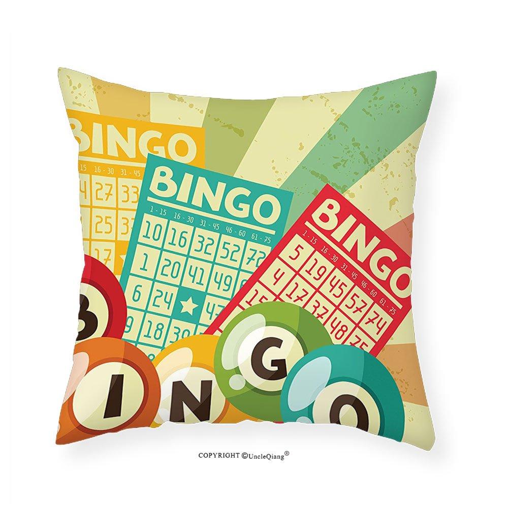 VROSELV Custom Cotton Linen Pillowcase Vintage Decor Bingo Game with Ball and Cards Pop Art Stylized Lottery Hobby Celebration Theme for Bedroom Living Room Dorm Multi 24''x24''