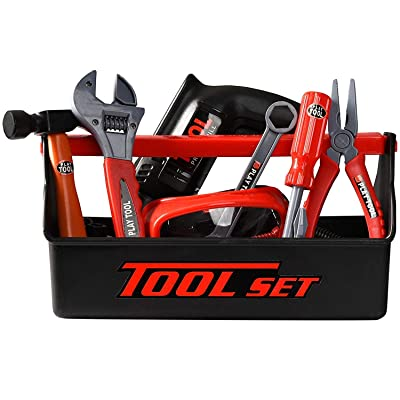 Playkidz Tool Box for Kids 22-Piece Boys & Girls Construction Toy Playset w/ Carry Chest, Working Push Button Power Drill, Hammer, Screwdriver, Wrench, Pliers, Saw & Other Realistic Tools Ages 3+: Toys & Games