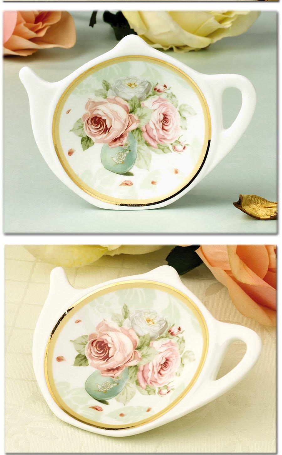 White Porcelain Ceramic with Flower Trim Gold Rim Teapot-Shaped Tea Bag Holder Tea Bag Coasters, Spoon Rests; Classic Tea Saucer Seasoning Dish Set by Linlins (Image #4)