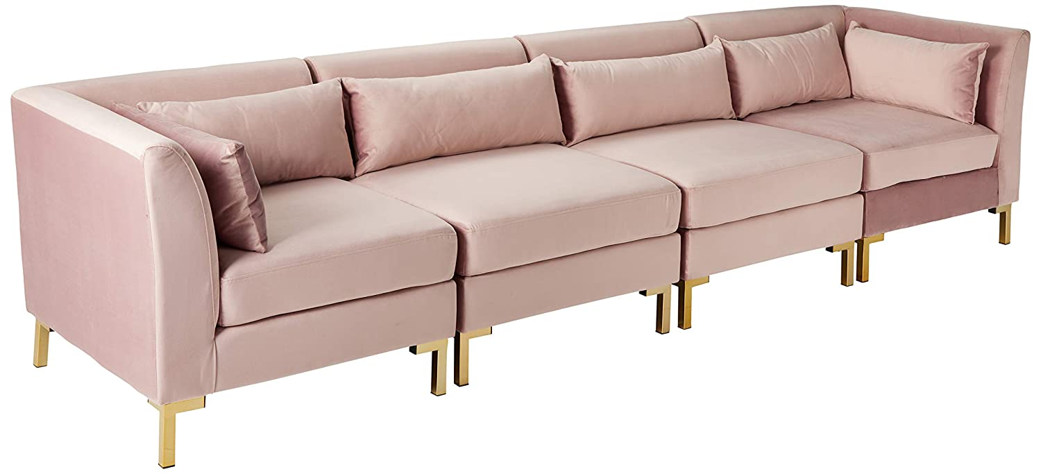 Iconic Home FSA9261-AN Girardi Modular Chaise Sectional Sofa Velvet  Upholstered Solid Gold Tone Metal Y-Leg with 6 Throw Pillows Modern  Contemporary ...