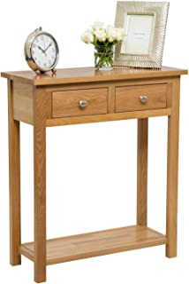 Slim console hall table solid teak wood 80cm x 25cm x 80cm