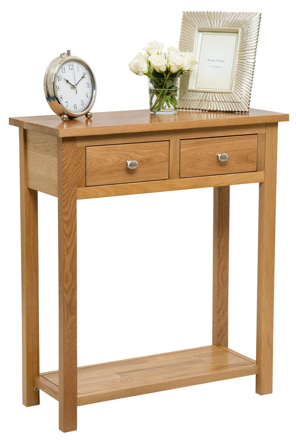 Waverly Oak 2 Drawer Large Console Table in Light Oak Finish | Solid Wooden Hall Table/Side Table/End Table/Telephone Table with 2 Drawer Hallowood Furniture