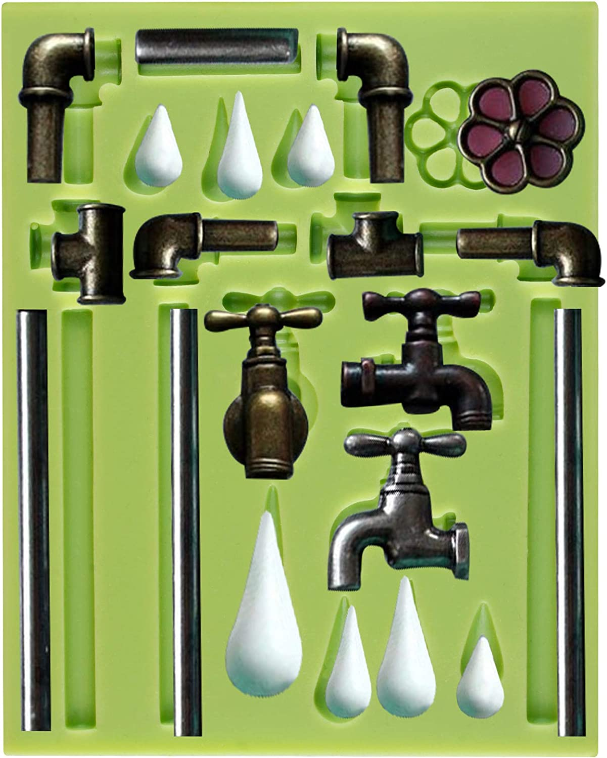 FUNSHOWCASE Steampunk Style Plumbing Pipe and Faucet Fondant Silicone Mold Cake Decoration Clay Crafting