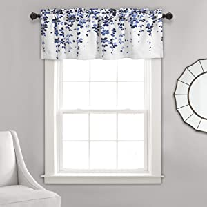 "Lush Decor Weeping Flowers Navy and Blue Valance Curtain for Windows 18"" x 52"", Navy & Blue"