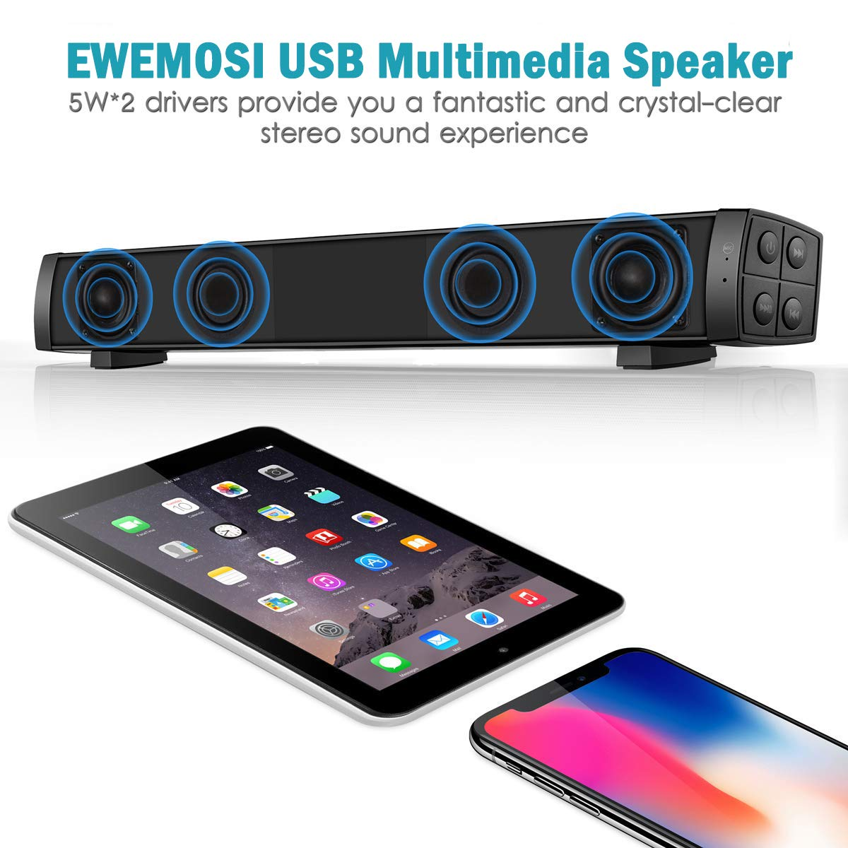 Support 3.5mm Audio Black EWEMOSI 19-Inch Soundbar 2.0 Channel Wired /& Wireless Rechargeable Bluetooth TV Speakers 4.2 3D Stereo AUX//TF Card Connection with Built-in Microphone Sound Bar for PC