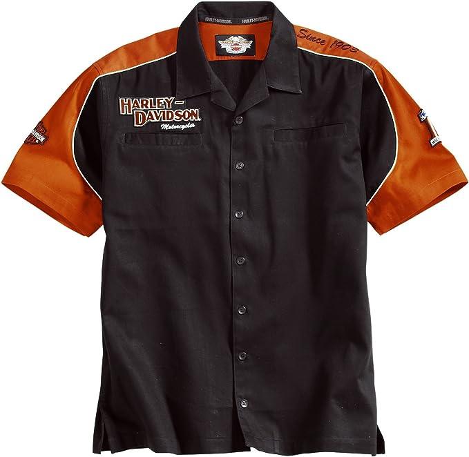 Harley-Davidson Short Sleeve Prestige, diseño Colorblock Garage Camiseta 99250 – 06 VM Camiseta para Hombre Negro Negro/Naranja: Amazon.es: Ropa y accesorios