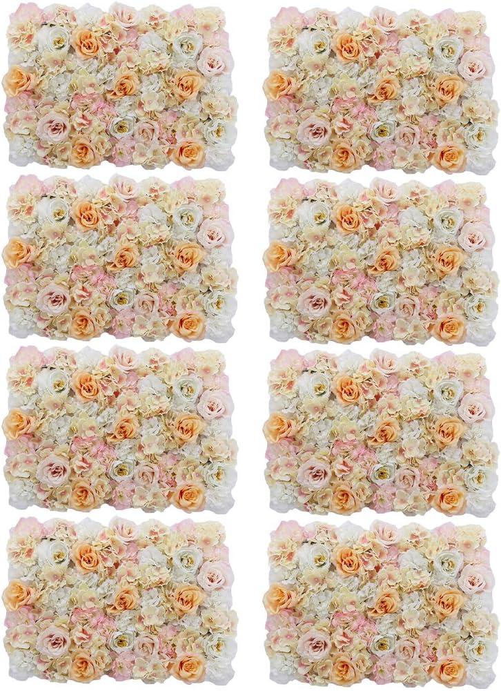 PETSOLA 8個の人工花の壁パネルの結婚式の会場フラワーデコレーションピンク - シャンパン, 8個