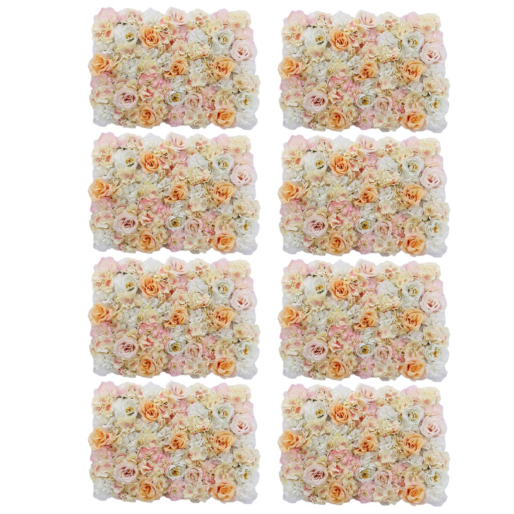 MonkeyJack 8 Pieces Artificial Flowers Wall Panels Wedding Home Hanging Decor Champagne