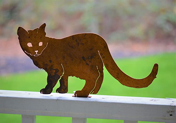 Elegant Garden Design Walking Cat, Steel Silhouette with Rusty Patina