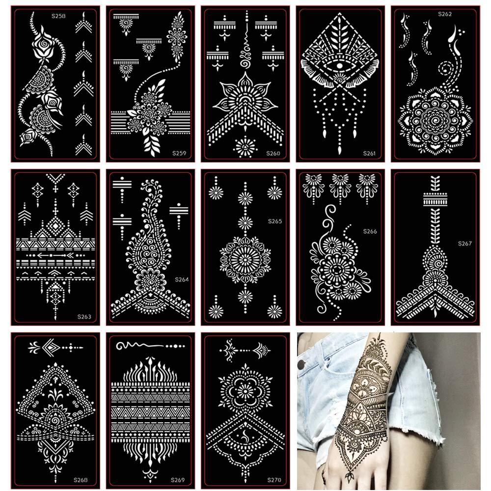 Henna Tattoo Stencil/Glitter Temporary Tattoo Temples Set of 30 Sheets, Indian Henna Tattoo Sticker Kit For Body Art Painting