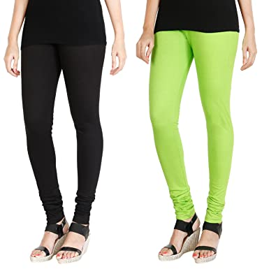 e79df28b15d21f HRINKAR® BLACK FLUROSCENT GREEN Soft Cotton Lycra Plain girls leggings  combo Pack of 2 Size
