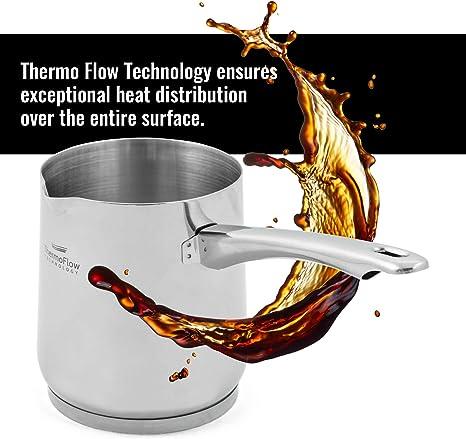 ROSMARINO Jarra de Café Turco - Cafetera Turca de Acero Inoxidable 18/10 - Cafetera Inducción Apta para Todo Tipo de Cocinas y Lavavajillas (700 ml): Amazon.es: Hogar