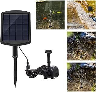 OurLeeme Bomba de Agua Solar, Fuente Solar de 1.8W Bomba Sumergible de Agua Piscina de jardín Fuentes de jardín con Kit de Paneles para jardín Patio Estanque: Amazon.es: Hogar