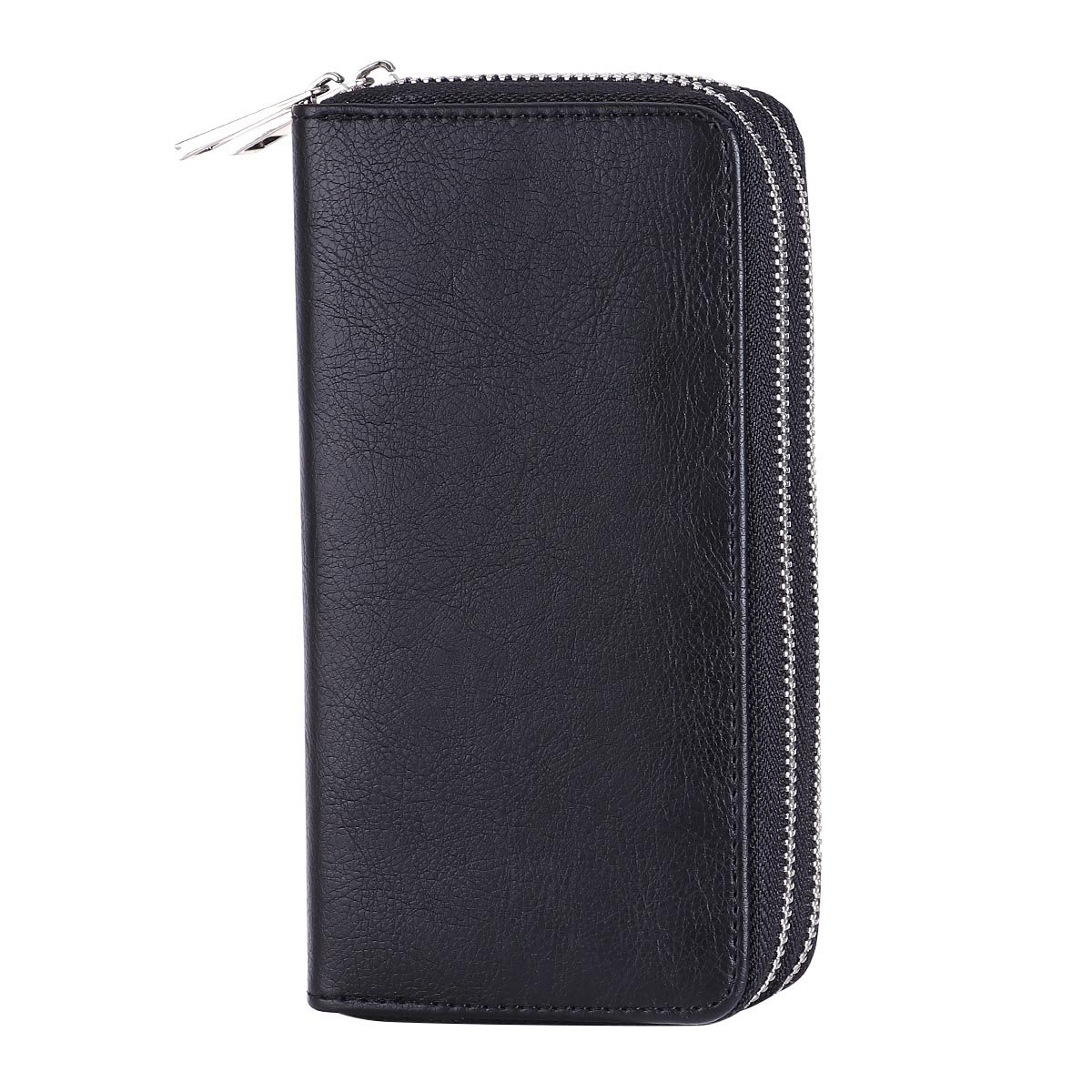 HAWEE Big Size Long Wallet for Woman Dual Zippered Clutch Purse Premium PU 5 Credit Card Slot 1 Smart Phone Slot 1 Coin Purse and Ample Compartments for Cash and Note, Black