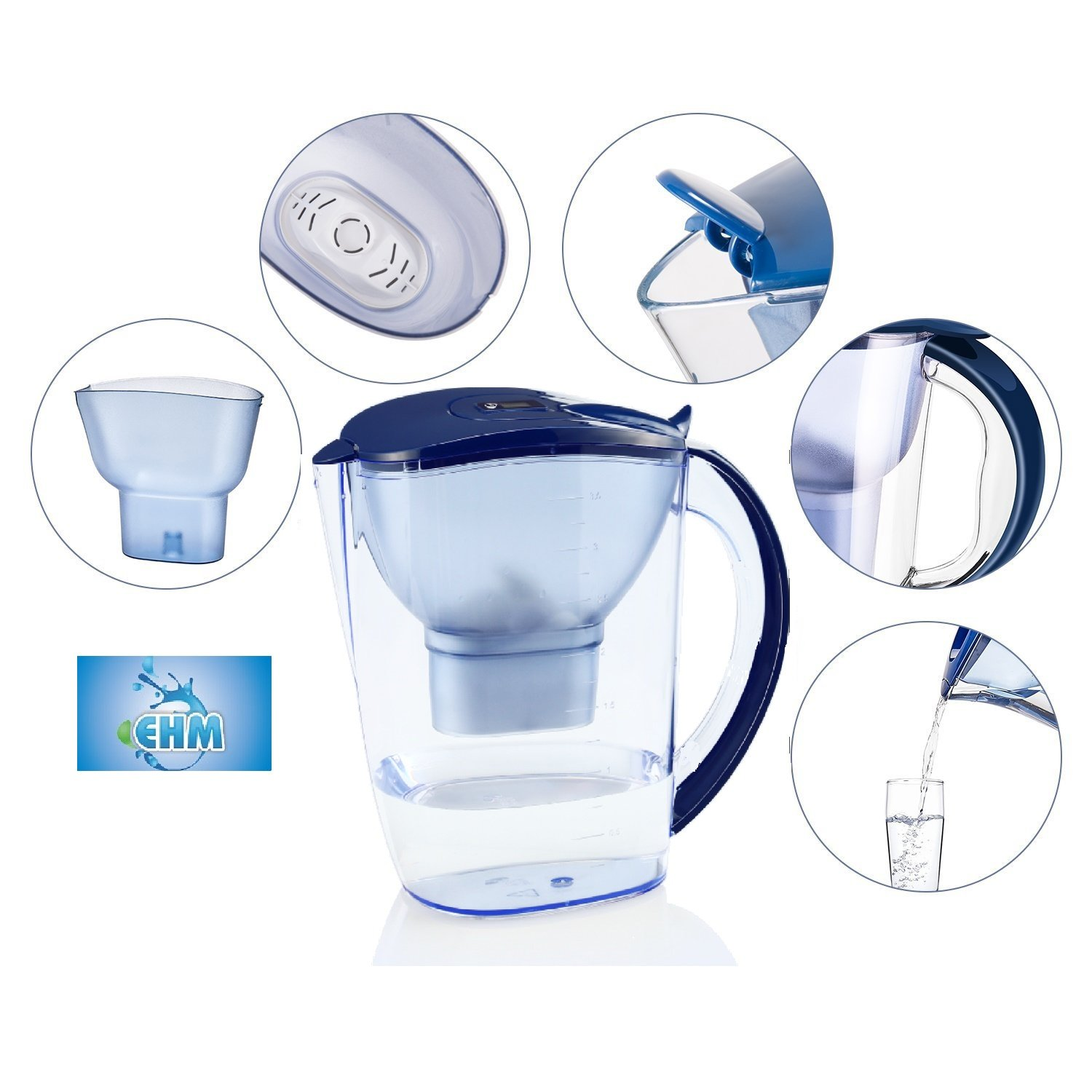 EHM ULTRA Premium Alkaline Water Pitcher - 3.5L Pure Healthy Water Ionizer With Activated Carbon Filter - Healthy, Clean & Toxin-Free Mineralized Alkaline Water In Minutes - PH 8.5 - 9.5 - 2018 by EHM (Image #7)