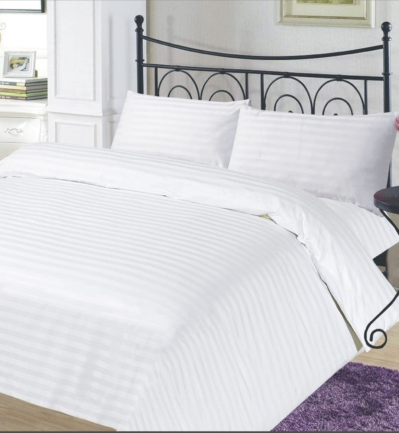 TC 200 100/% Egyptian Cotton Stain Stripe Duvet Quilt Cover With Pillow Cases