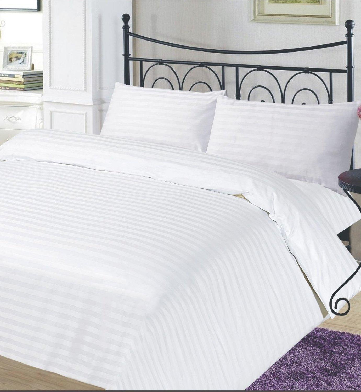Egyptian Cotton Satin Stripe 250 Thread Count Duvet Cover Bedding Set