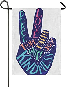 Glaphy Peace and Love Hand Sign Burlap Garden Flag 12x18 Inch Outdoor Decorative Banner Home House Lawn Double Sided Yard Flags
