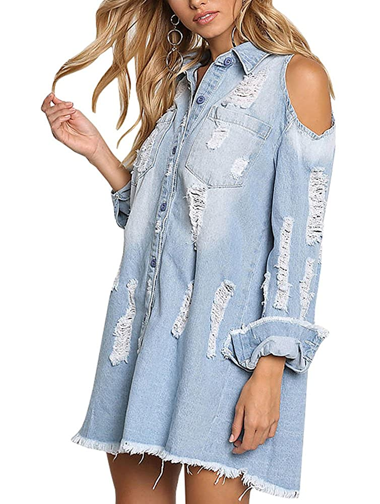 96f3bc973e Sibylla Womens Cold Shoulder Ripped Distressed Denim Shirt Dress Long  Sleeve Button Down Chambray Blouse(PLS Size Down) at Amazon Women s  Clothing store