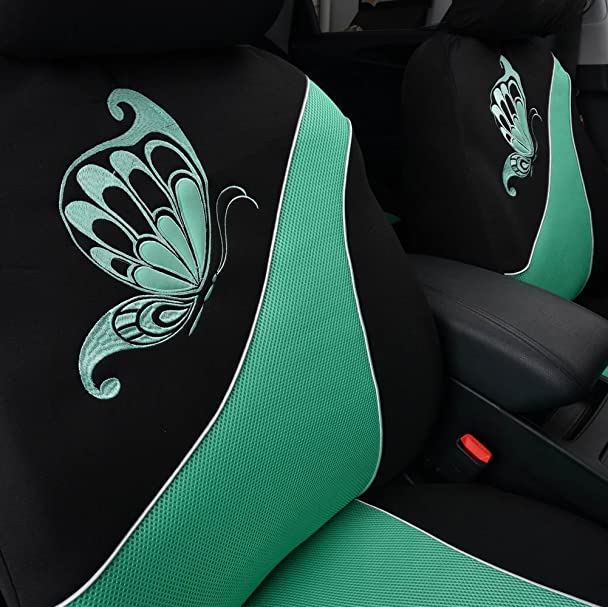 ... Banner Mesh Universal Fit 2 Front Car Seat Covers With Butterfly  Embroidery,5mm Composit Sponge And Airbag Compatiable(Black And Mint Green):  Automotive