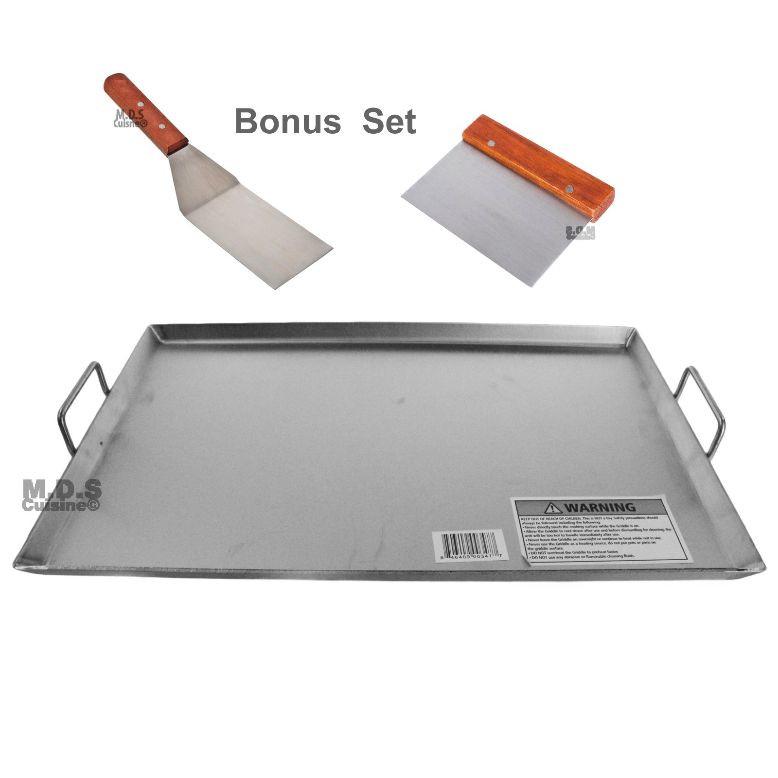 Griddle Flat Top Stainless Steel Grill Plancha Chef Pro Cooking Comal Heavy Duty 19 1/2''x13''