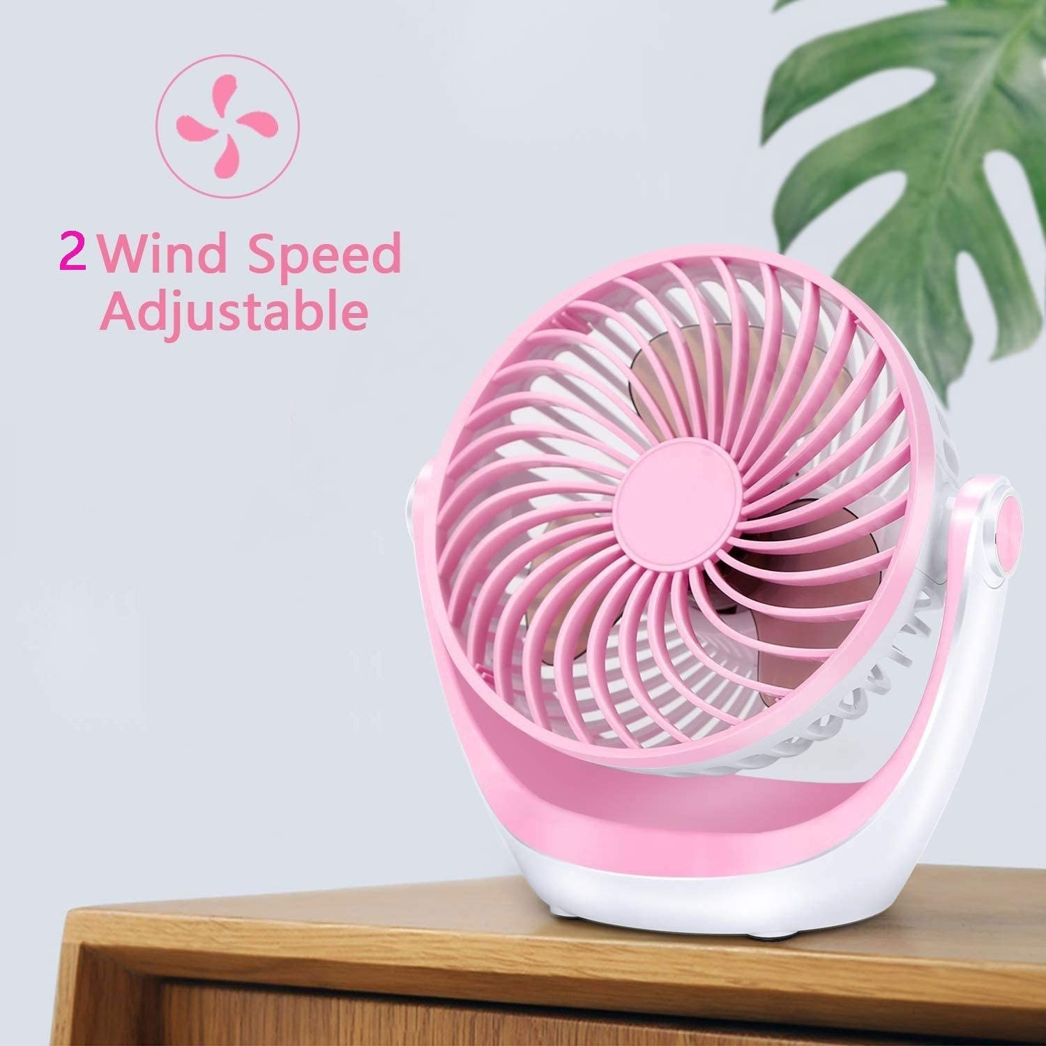 Color : Pink, Size : 2pcs GQQG USB Fans Portable for Desk Personal Fan 360/° Rotating 2-Speed Table Fans for Home Quiet for Bedroom Office Outdoor