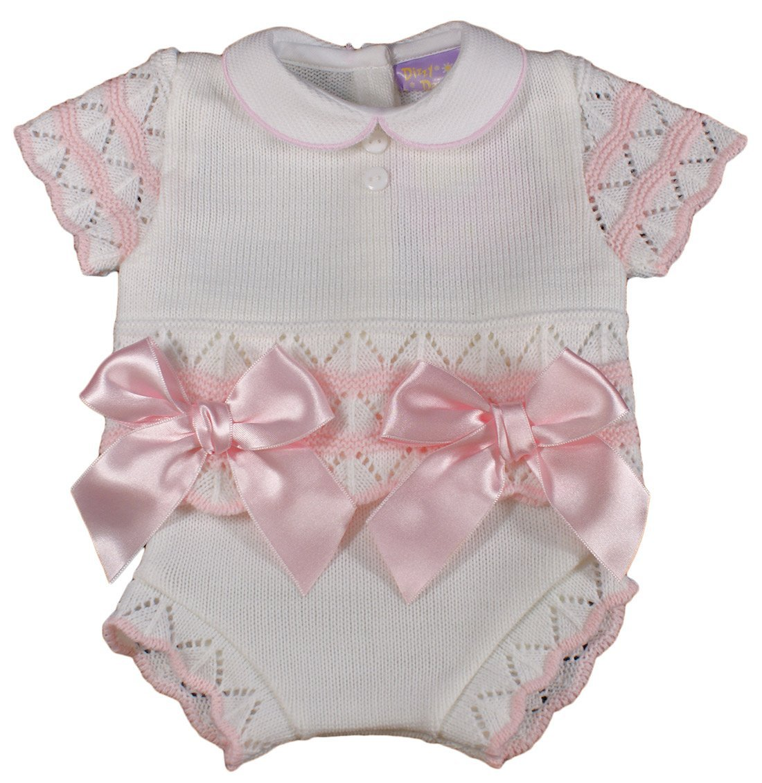 55b3e4cff Baby Girl Bows Spanish Knitted Summer Outfit jam Pants Knickers top 3-6  Months Pink: Amazon.co.uk: Baby