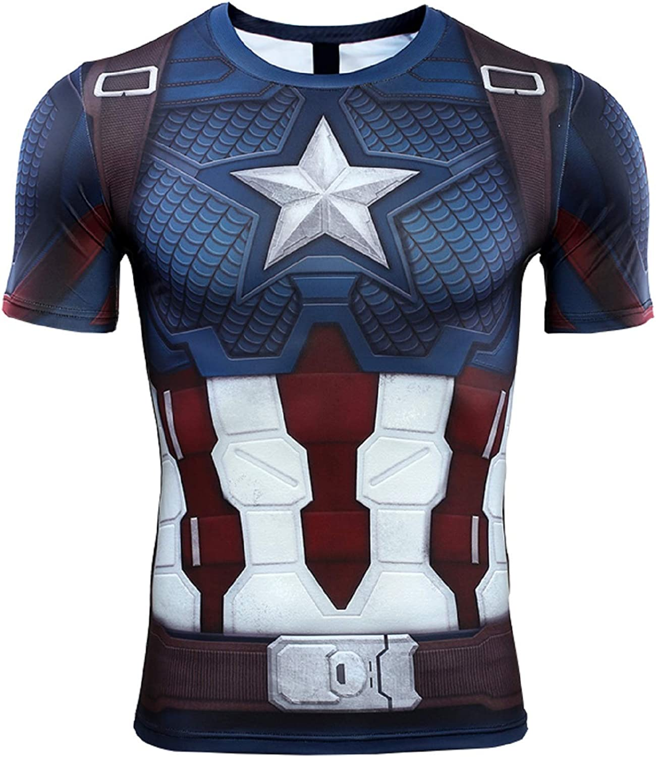 Short Sleeve 3D Print T-Shirt for Men's Captain America Compression Shirt