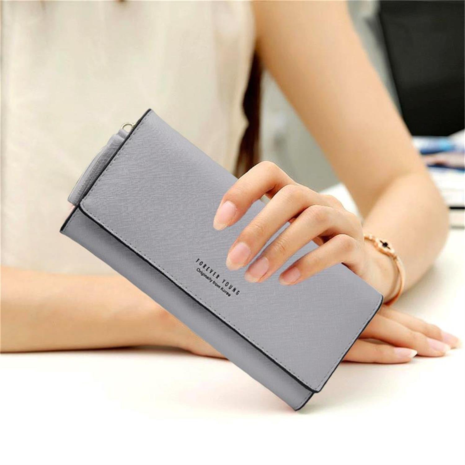 Wallets for Women, Slim Clutch Long Leather Purse Lady Checkbook Credit Card Holder with a Removable Card Slot (A-Gray) by Aiyo Fashion (Image #7)