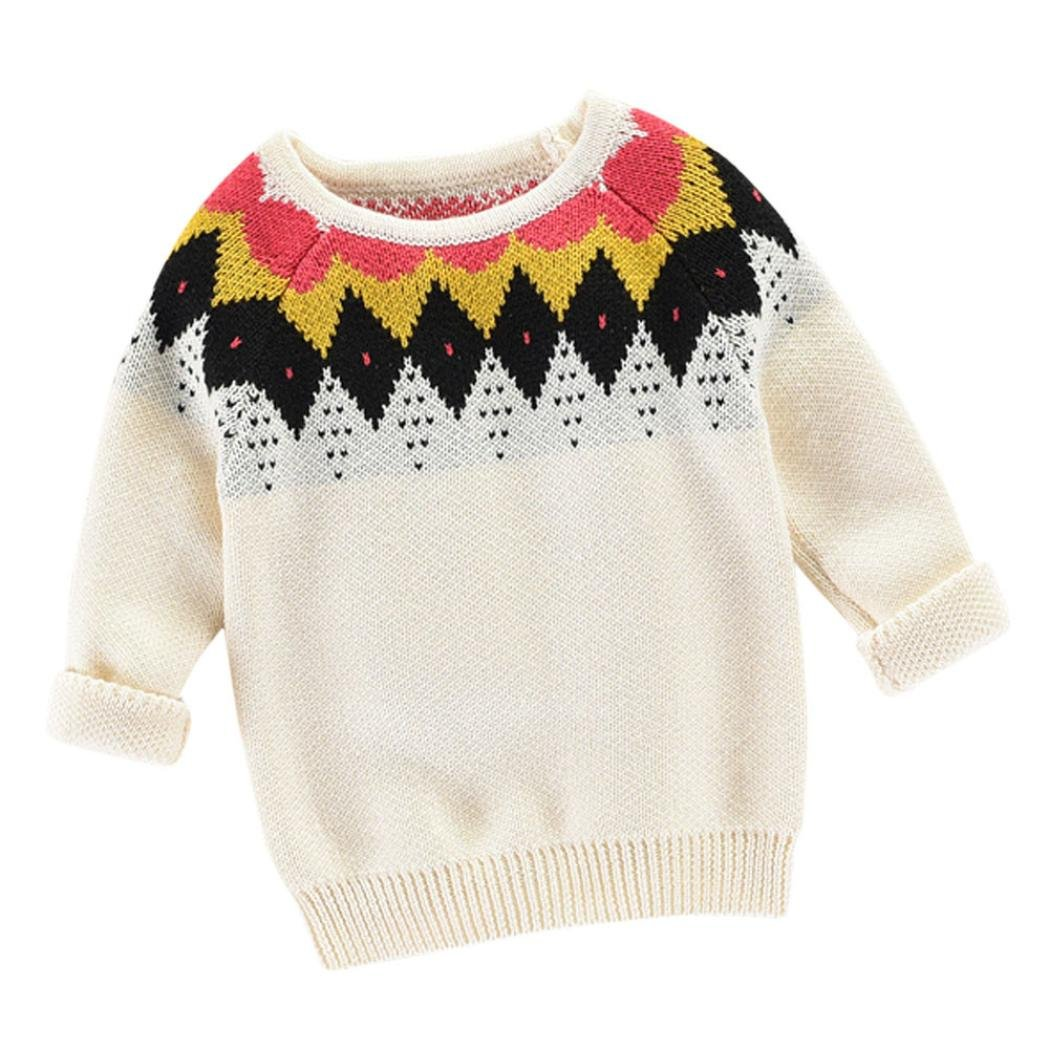 Unisex Baby Knit Pullover Sweater Kids Cotton O-Neck Long Sleeve Sweatshirt 1-6T