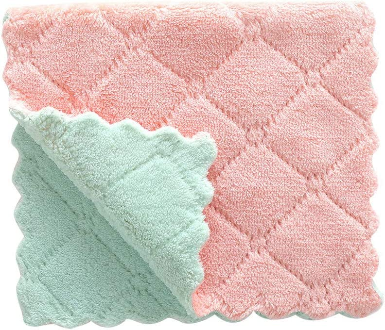 BESSKY Nonstick Oil Coral Velvet Hanging Hand Towels Kitchen Dishclout Washing Tools Dish Cloths for Bathroom Home Travel (2716cm, Pink (1PC))