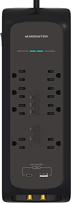 Monster Power Strip Surge Protector with USB Ports - Heavy Duty Protection for 8 Plug-ins and 2 USB Gadgets - Ideal for Computers, Home Theatre, Home Appliance and Office Equipment