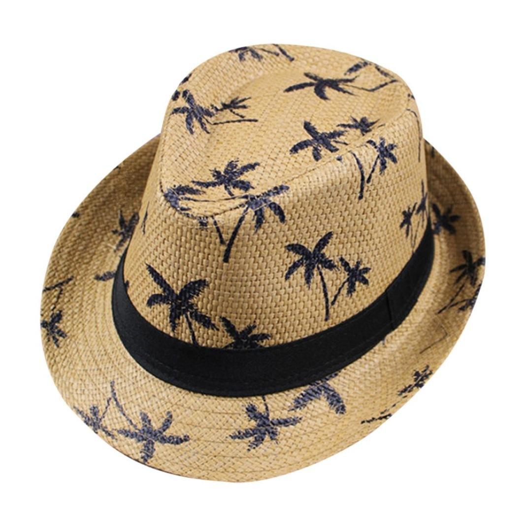 Vertily Hat Causal Package Maple Leaf Straw Beach Sun Summer Panama Gangster Cap FSSG-342